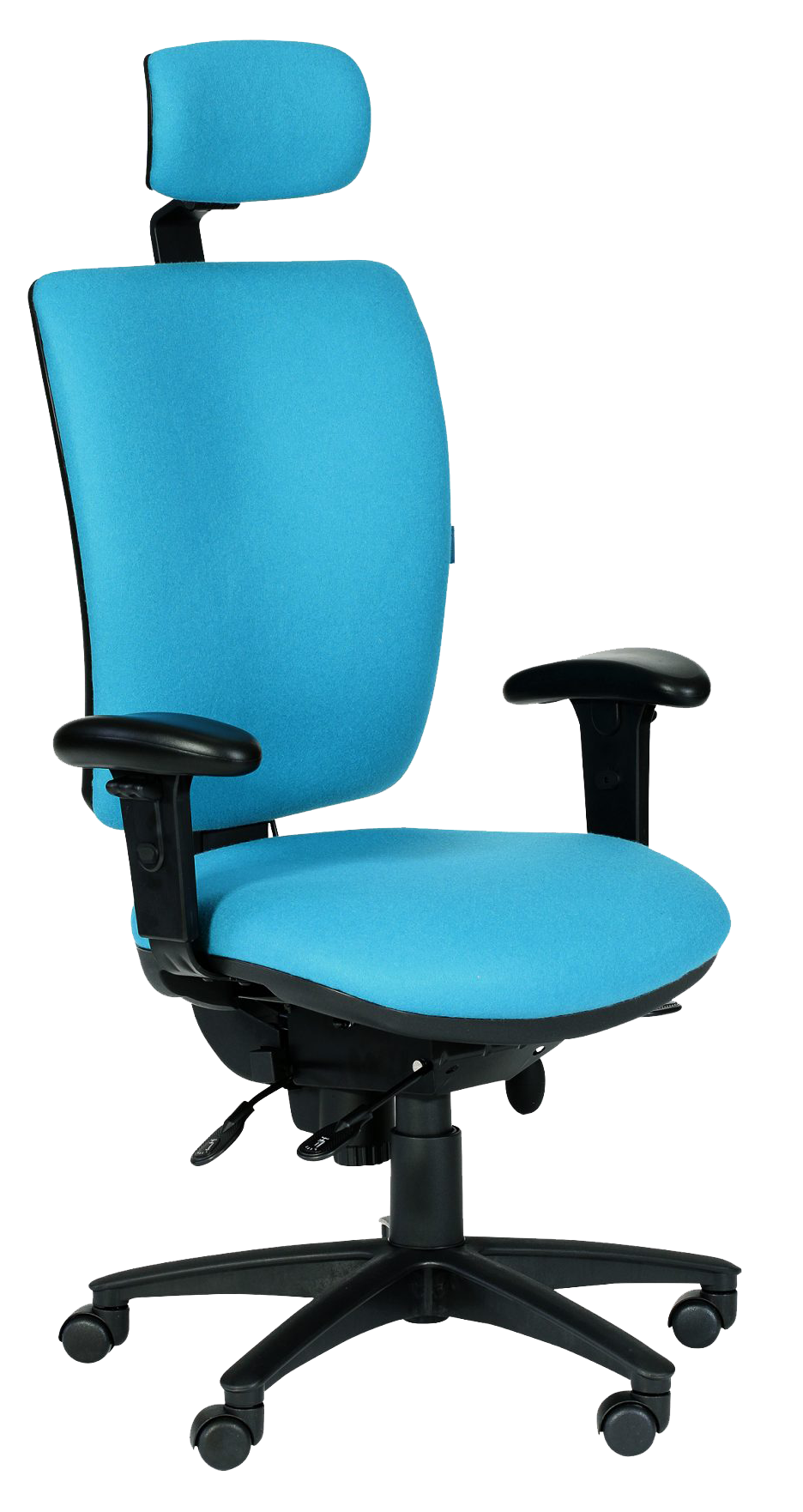 Photograph of the Tick 24 Hour chair with light blue fabric