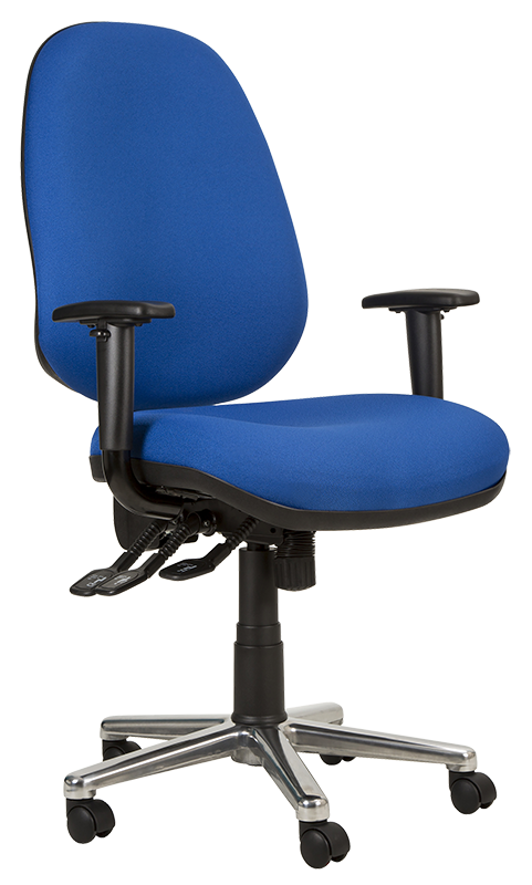 Photograph of the Tick Bariatric chair with blue fabric