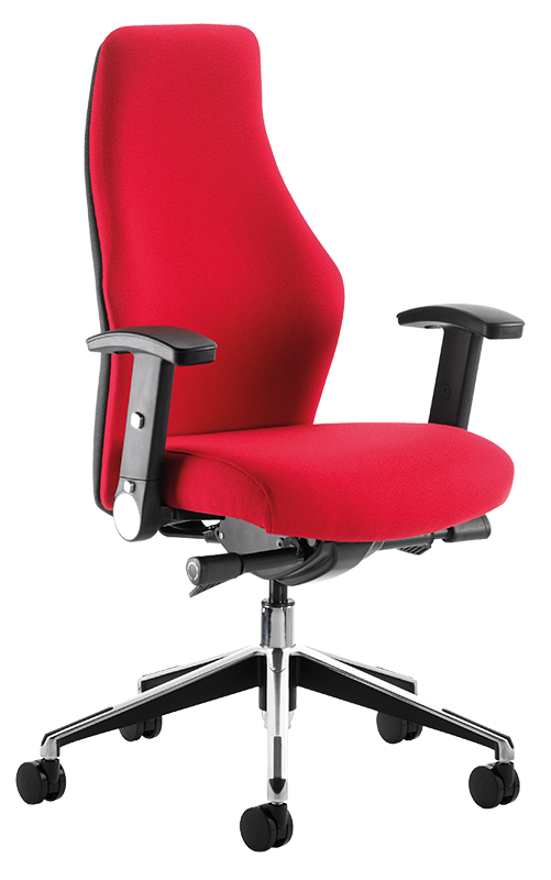 Photograph of the Tick Ergo Chair with red fabric
