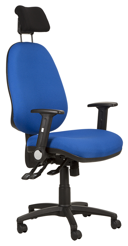 Photograph of the Tick Grande chair with blue fabric