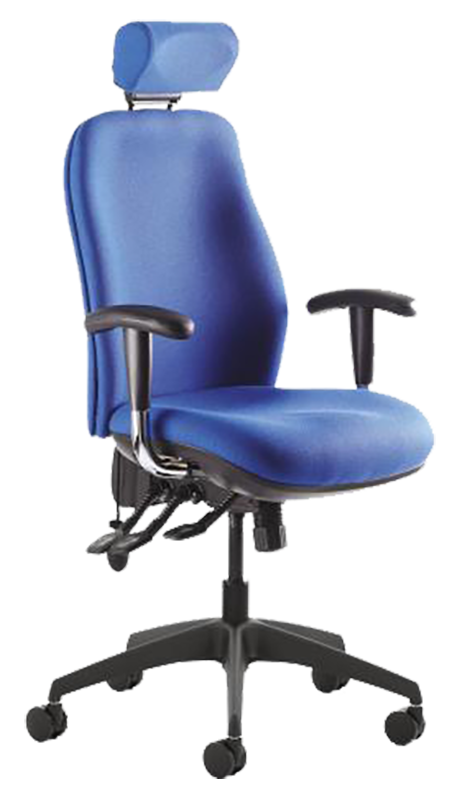 Photograph of the Tick Response chair with blue fabric