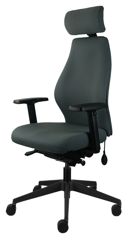 Photograph of the Tick Solution chair with dark grey fabric