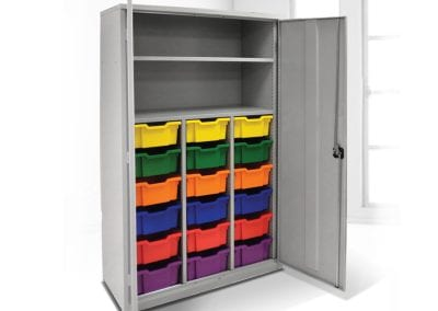Tick Solutions Steel Storage Cabinet with coloured bins
